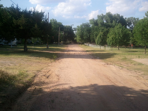 When we arent working pickups and service trucks line this road of our campground today its a ghost town- JB