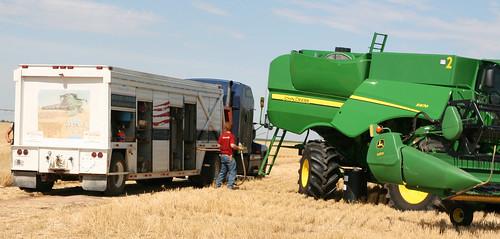 Callum prepares to fill up a combine