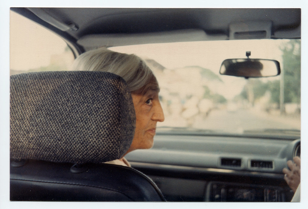 J. Krishnamurti in a car in India