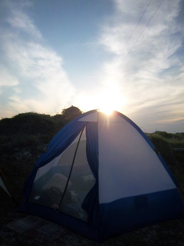 sunset over the tent