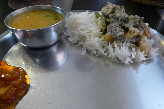 shukto on rice with mumg-masur dal, and green mango relish