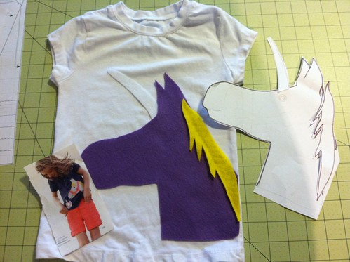 unicorn shirt WIP - mini boden inspired