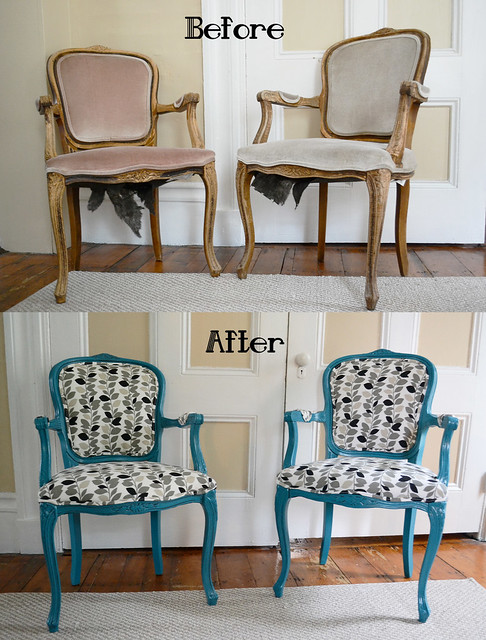 Craigslist DIY Chair Makeover- Painted, Glazed, and Upholstered
