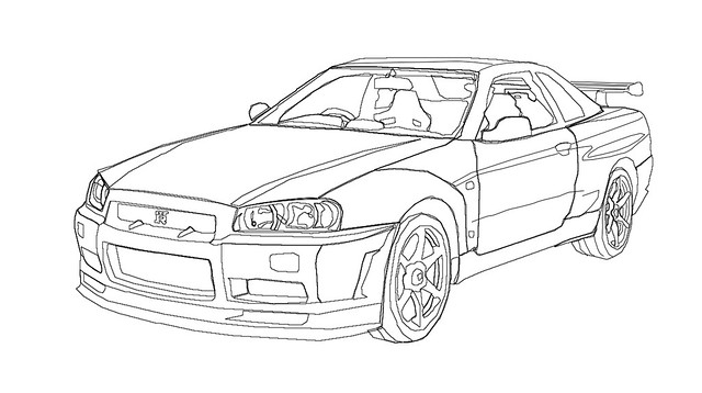 Nissan R34 Skyline Outline Drawing Sketch Coloring Page