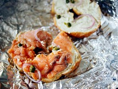 Smoked salmon, cream cheese, capers on a bagel from Mama Bagel, Back of Sarnies, Telok Ayer Street