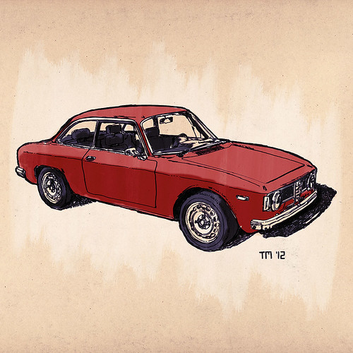 Drawing of a Alfa Romeo Giulia GTA. Black Ink and watercolors on rough paper
