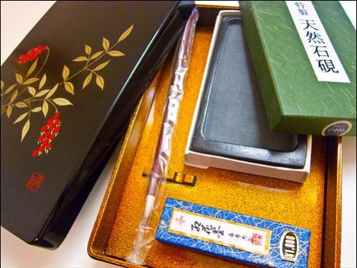 Set de caligrafía en caja lacada