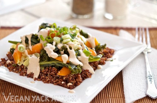 Steamed Veggies with Quinoa and Sesame Ginger Dressing