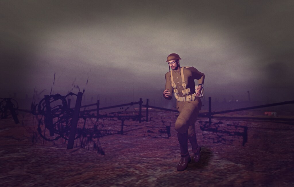 "The Western Front, 1917, in SL: ""and he ran towards no man's land"""