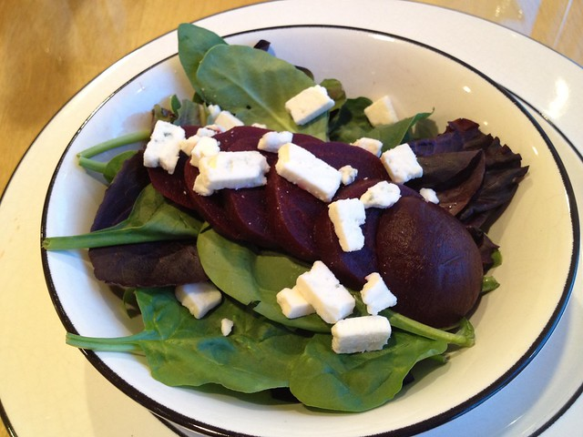 Mixed greens, beets and feta salad