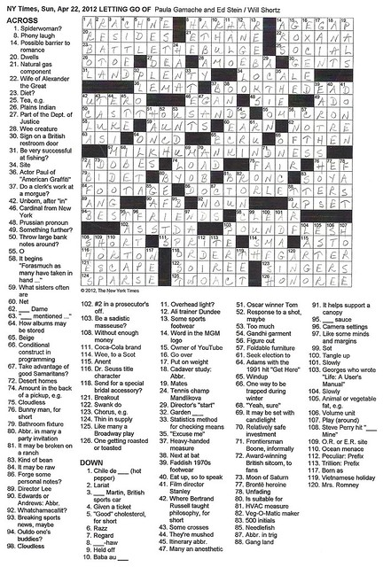 NYT Sunday Puzzle, April 22, 2012