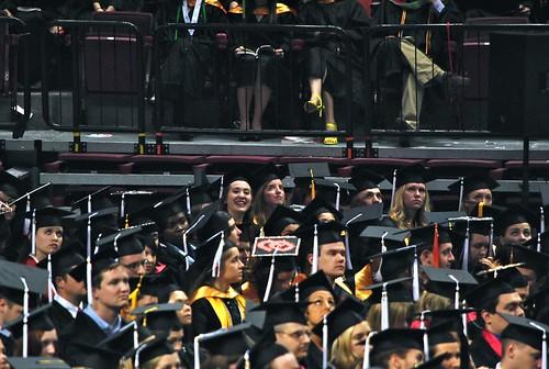 Hannah in the sea of graduates