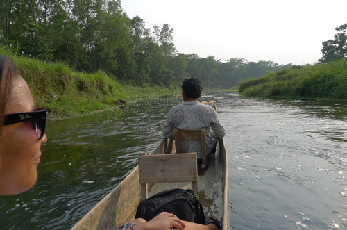 Leisurely trip on river canoe