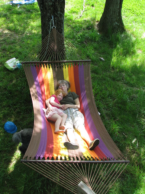 Tabby and Grandma in the new hammock