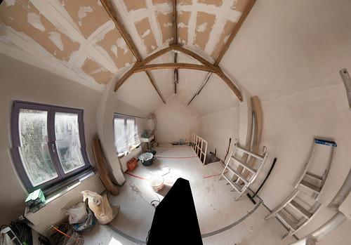 Deels gepleisterd plafond