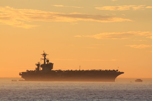 USS Carl Vinson, Anchord off Fremantle . Anzac day