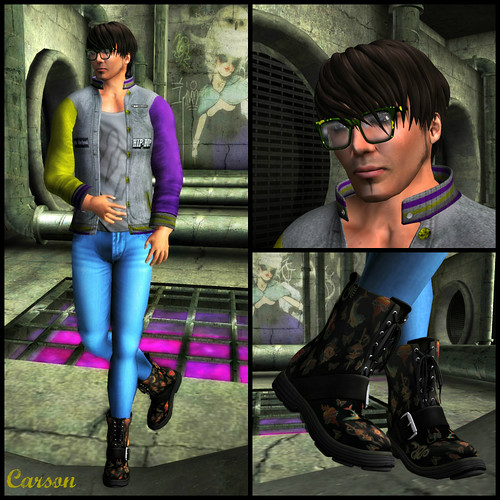 [BuFu]Prod0.7. MESH Jacket Color, Chinese Takeout - Denim pants, CheerNo - Marley Glasses, Duh - Tattoo Love Ankle Boots
