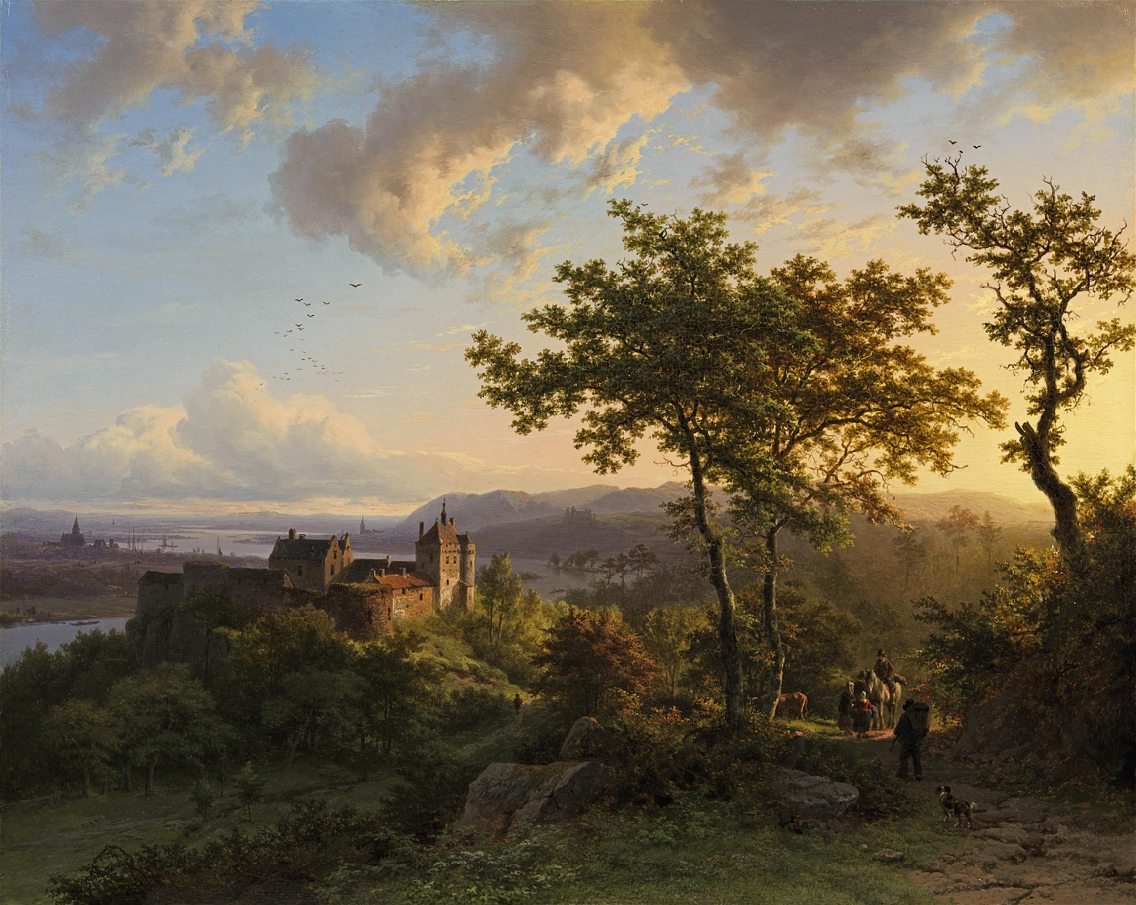 Barend Cornelis Koekkoek, Sommerliche Waldlandschaft mit Burg, 1851
