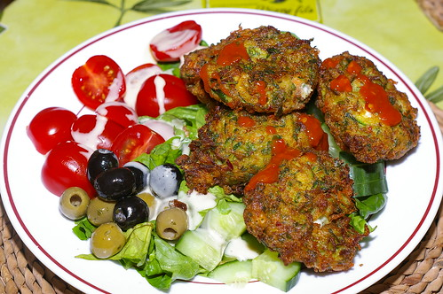 Courgette and feta fritters by La belle dame sans souci