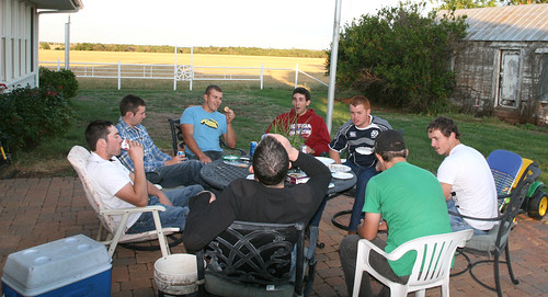 The guys enjoy the Annual Campbell Cookout