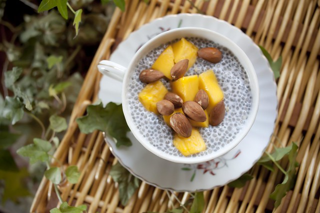 Coconut Chia Pudding with Almonds & Mangoes