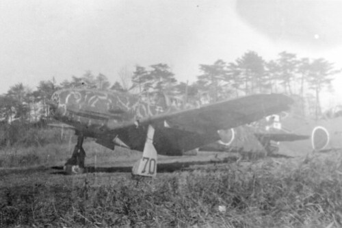 "Kawasaki Ki61 Hien ""Tony"" as found at Tokorozawa Air Bae near Tokyo, 1945.  The airplane carried two B-29 ""kill"" markings under the cockpit."