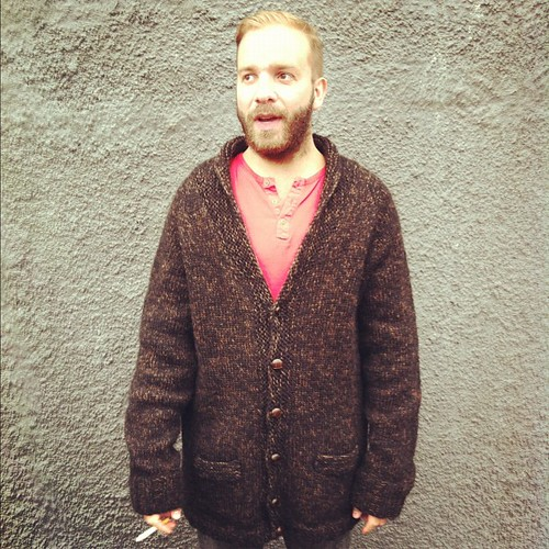 @valdigardars wearing the sweater i designed and knitted for him
