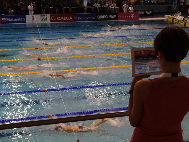 Filming the men's 400 free at Debrecen 2012