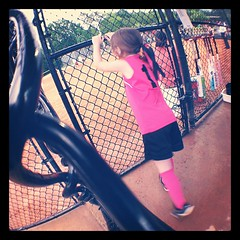 Niece in the dugout #pink #photoadaymay