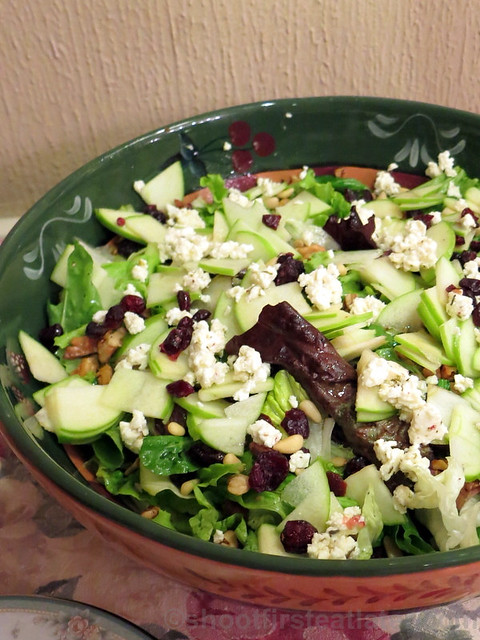 salad with apples, feta, dried cranberries & pine nuts