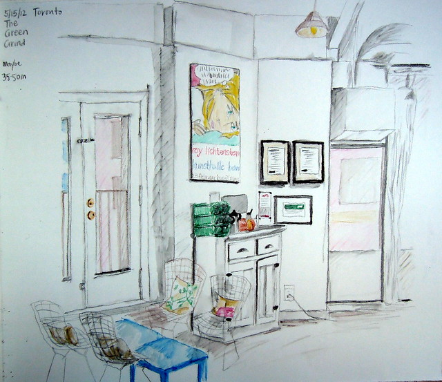 Sketch of the interior of The Green Grind cafe, Toronto
