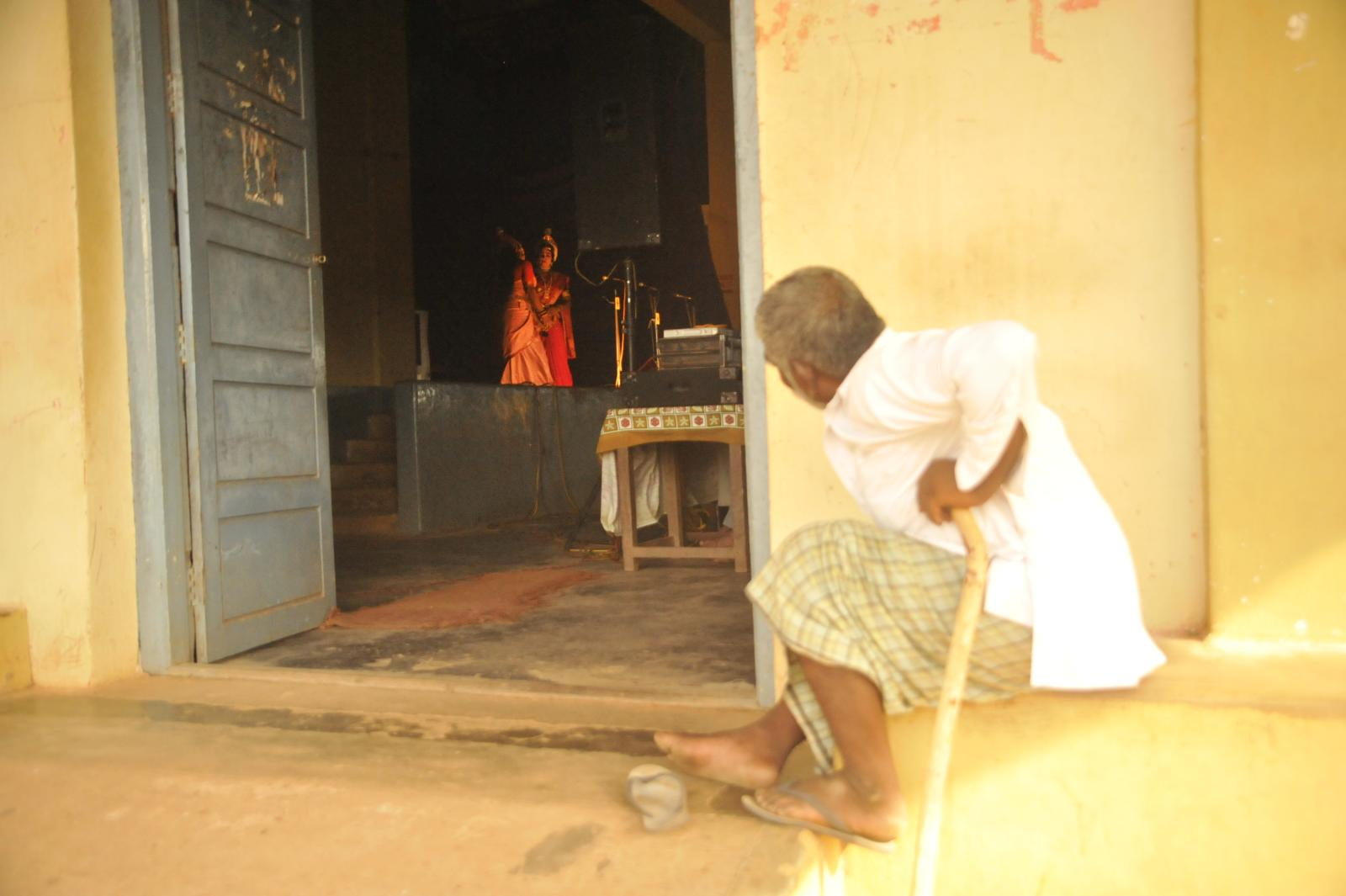 A long peep! Elderly watching the show from outside the hall.. Yakshagana, Kichaka Vadha