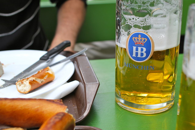Beers, brezel, and sausages.