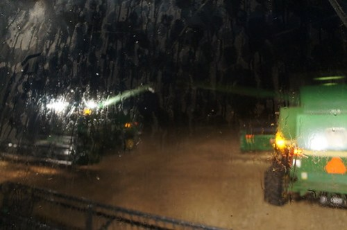 The combines in the rain
