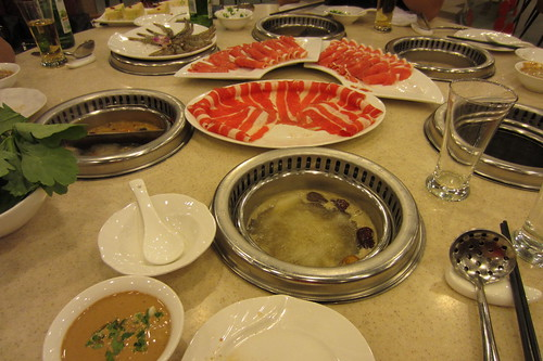 Chinese hot pot meal at Little Sheep