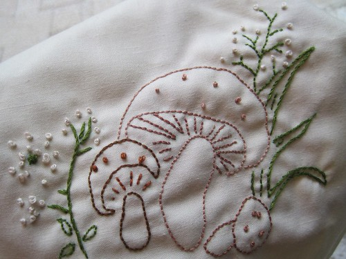 Embroidered Mushrooms from a Vintage Pattern