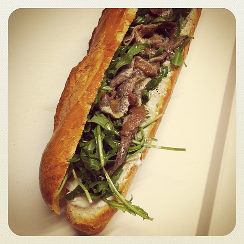 Baguette with arugula, spanish anchovies and greek yogurt