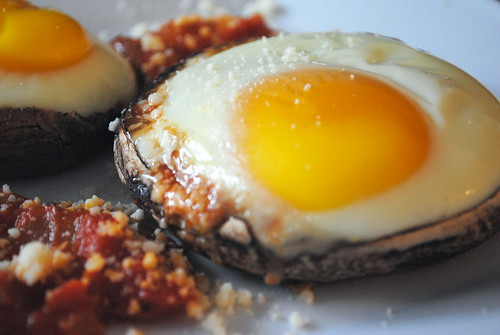 Baked Eggs in Portobellos