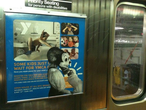 Some Kids Just Can't Wait for YMCA Camp (G train; car 5126)