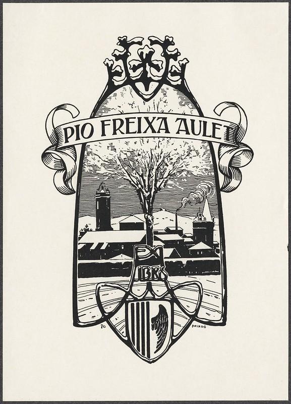 xilogravura cena cidade silhueta no estilo art nouveau-fronteira ex libris / frame