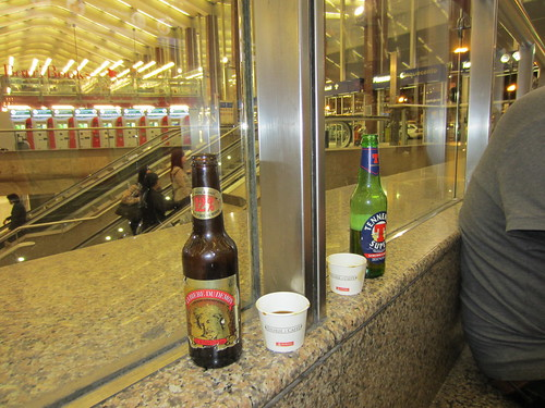 shots of fernet in a train station