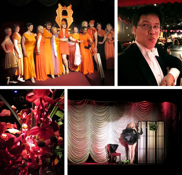 Clockwise from top left: Susan with other glamorous ladies in orange gowns - a photo-op to commemorate the Golden Gate Bridge; Pat looking... debonair? mischievous?; Vienna La Rouge performing burlesque; a bouquet of orchids.