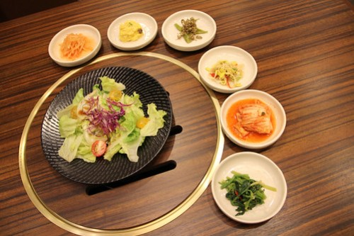 House Salad and appetizers at Sariwon Korean Barbecue