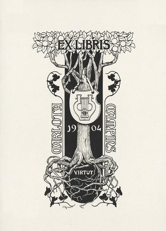 estilizado 1904 art nouveau ex libris placa ilustração