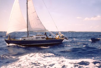 Blue Monk Sailing to Little Harbour 1989
