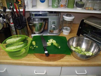 slice cucumbers