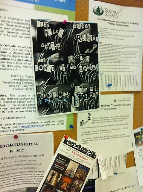 Bulletin board at Wells Library