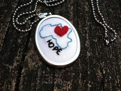 large africa charm w/word