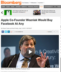 Did Bloomberg distort Apple Co-Founder Mr. Steve Wozniak's view on Facebook as an investment?