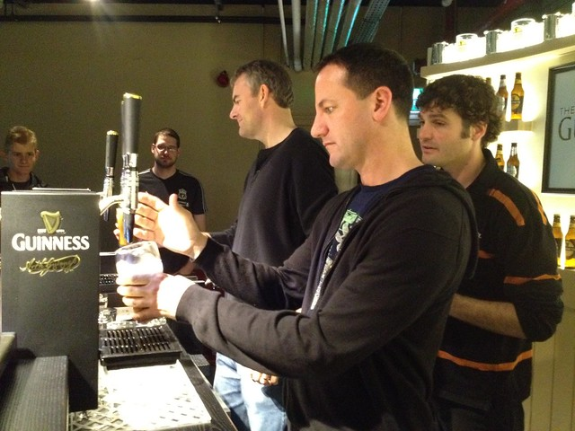 David pours Guinness
